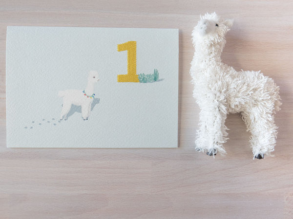DOWN TO THE WOODS Embroidered Card Alpaca-One