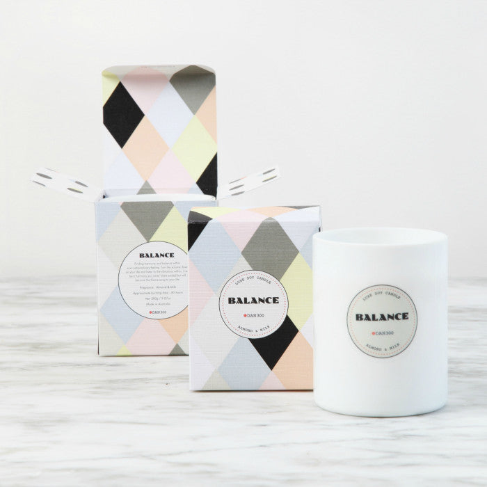 DAN300 Boxed LUXE Candle-BALANCE-Almond & Milk