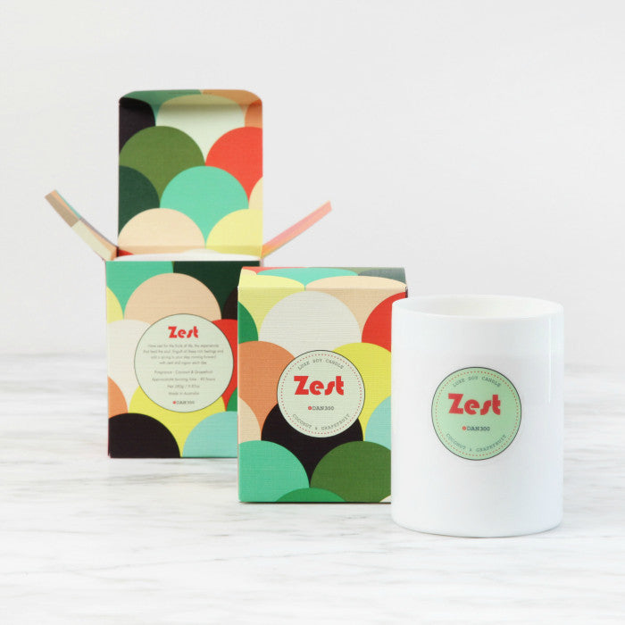 DAN300 Boxed Candle-ZEST-Coconut & Grapefruit