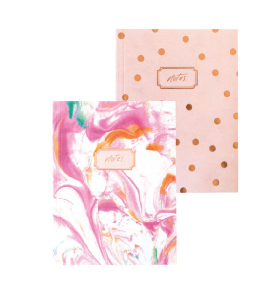 Blushing Confetti Set of 2 Notebooks – Marbled Polka Dots