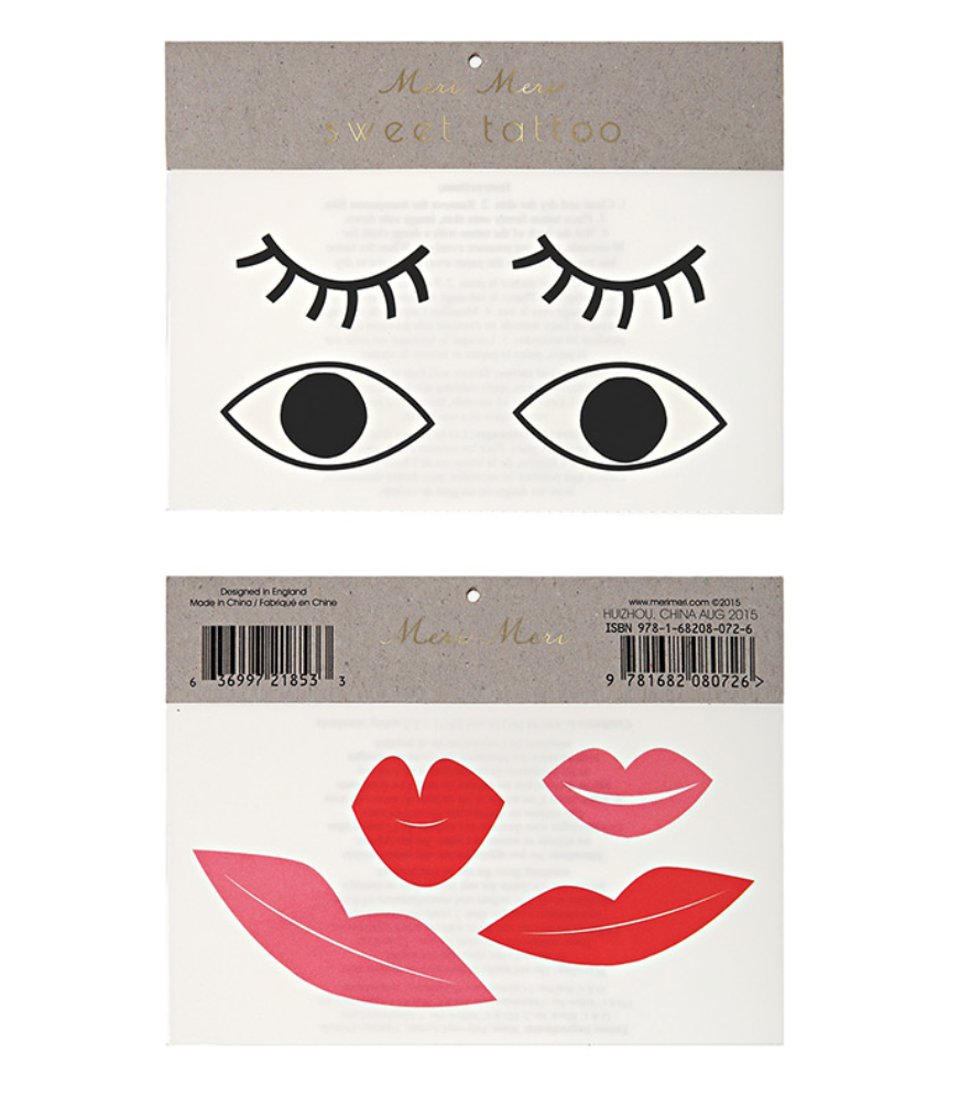 MERI MERI Tattoos large-Eyes & Lips