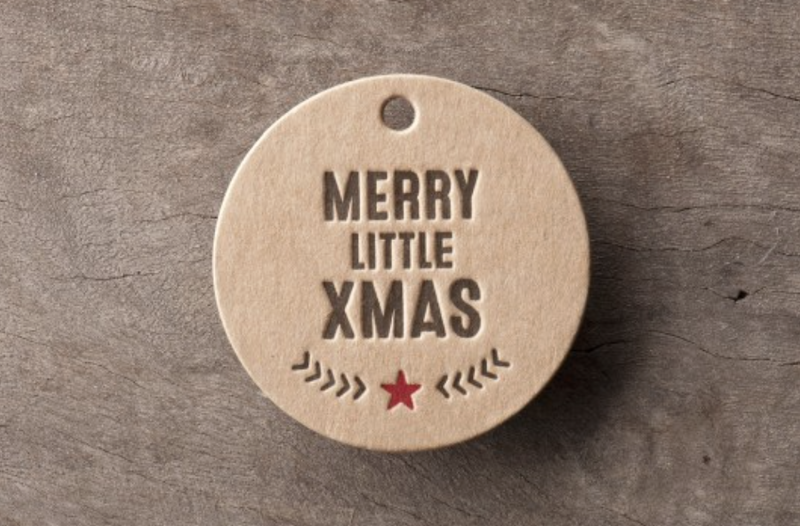 WOODDUCK PRESSMerry Little Xmas gift tag set of 6