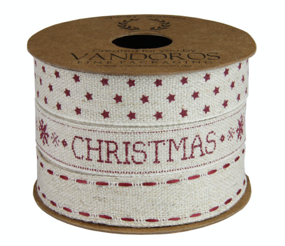 Christmas Multi reel Natural/Spice Red Ribbon