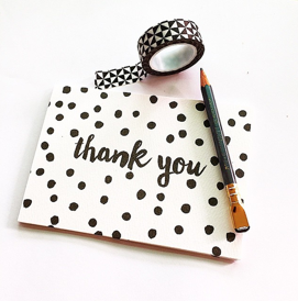Little Paper Lane- Black dots Thank-You card set