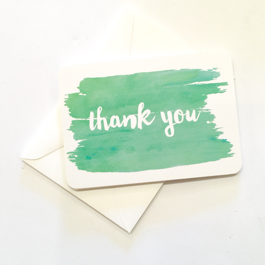 Little Paper Lane- Green Watercolour Thank-You card set