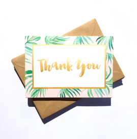 Little Paper Lane- Palm Leaves Thank-You card set