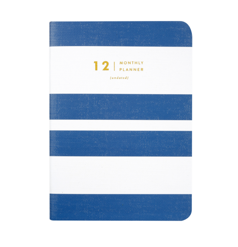 AMELIA LANE PAPER Monthly Planner-Undated Navy stripes