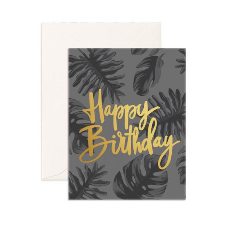 Fox & Fallow Happy Birthday Gold Greeting Card