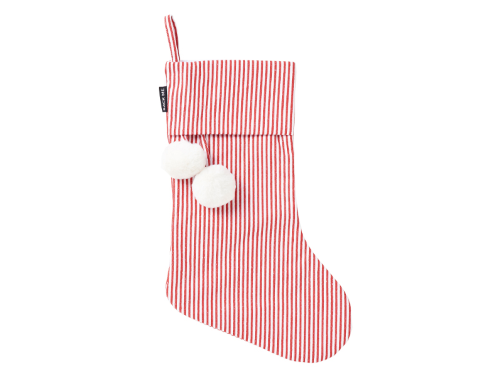 SACK ME Christmas Stocking-Red and white pinstripe