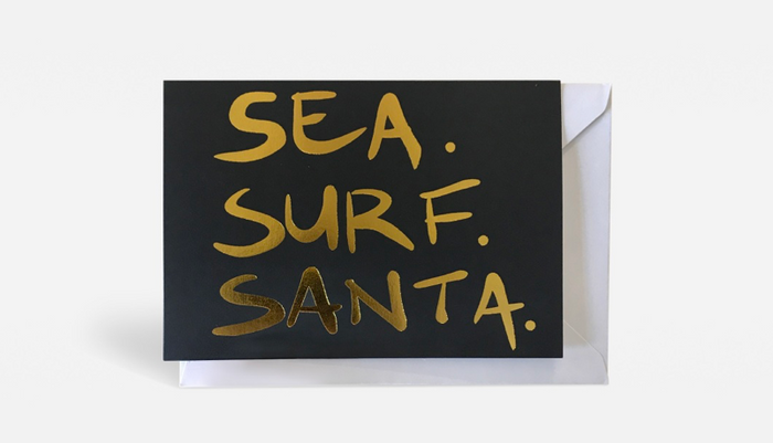 LIBBY WATKINS Christmas card-Sea Surf Santa
