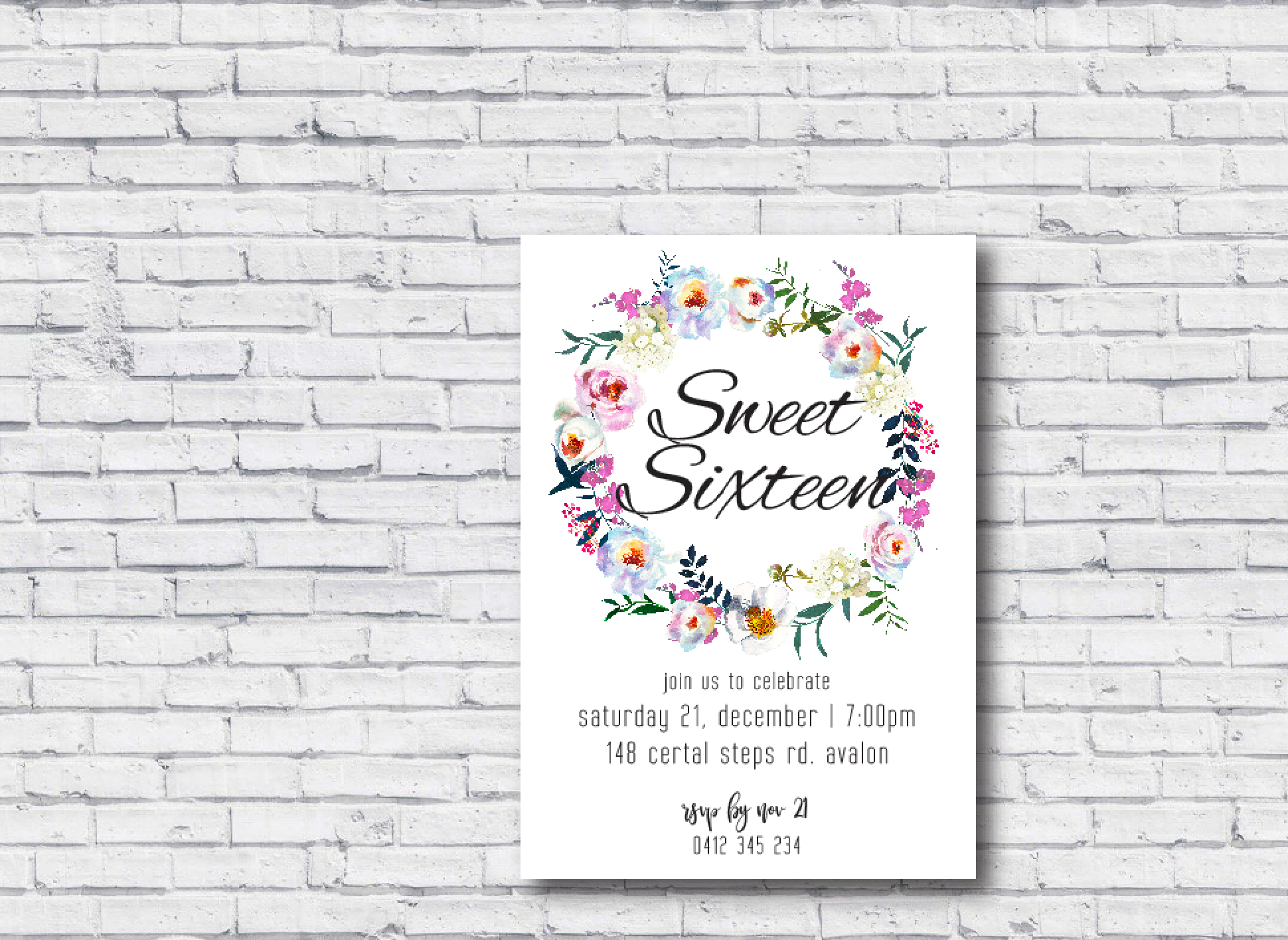 Sweet Sixteen Printable Birthday Invitation