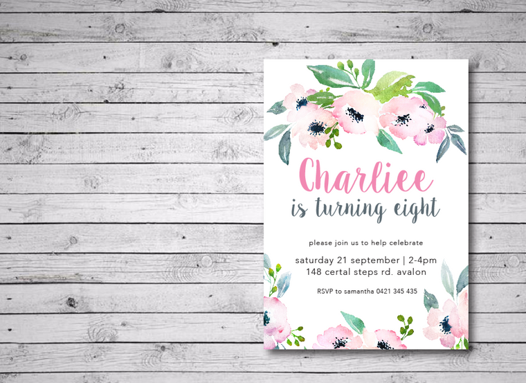 Floral Printable Birthday Invitation
