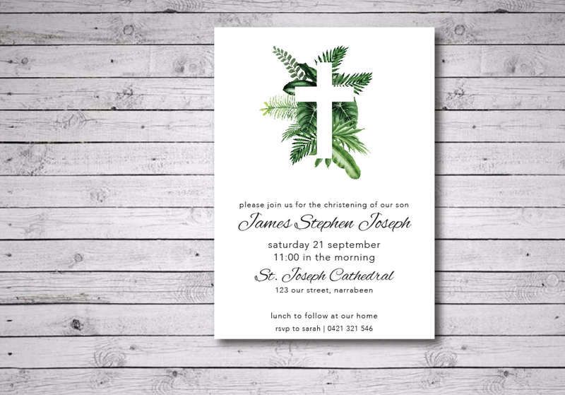 Tropical Leaf Printable Christening Invitation