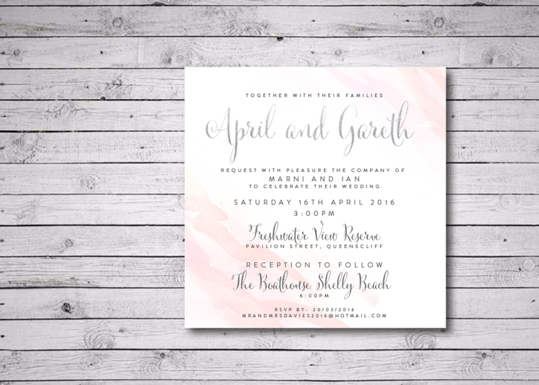 Modern Watercolour Printable Wedding Invitation