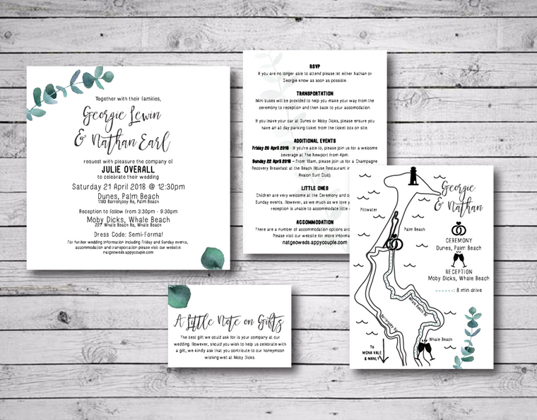 Eucalyptus Leaf Printable Wedding Invitation