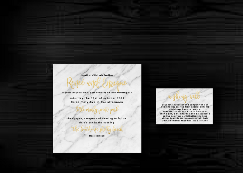 Marble and Gold Printable Wedding Invitation
