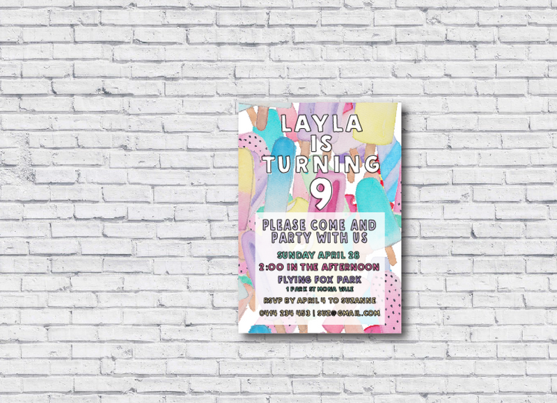Icy Pole Printable Birthday Invitation