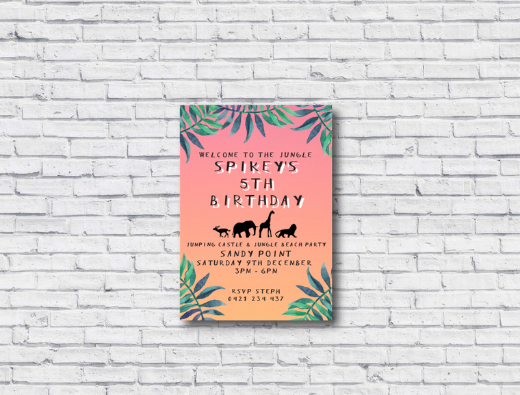 Jungle Printable Birthday Invitation