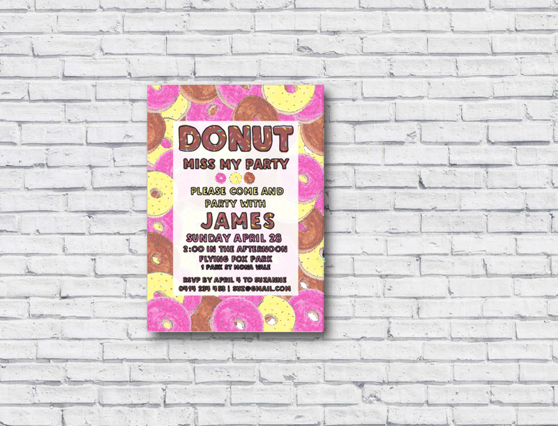 Donut Printable Birthday Invitation