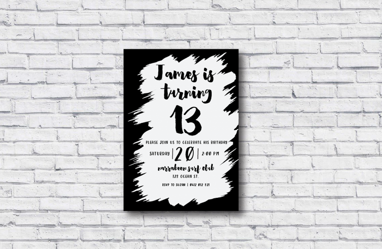 Paint Stroke Printable Birthday Invitation