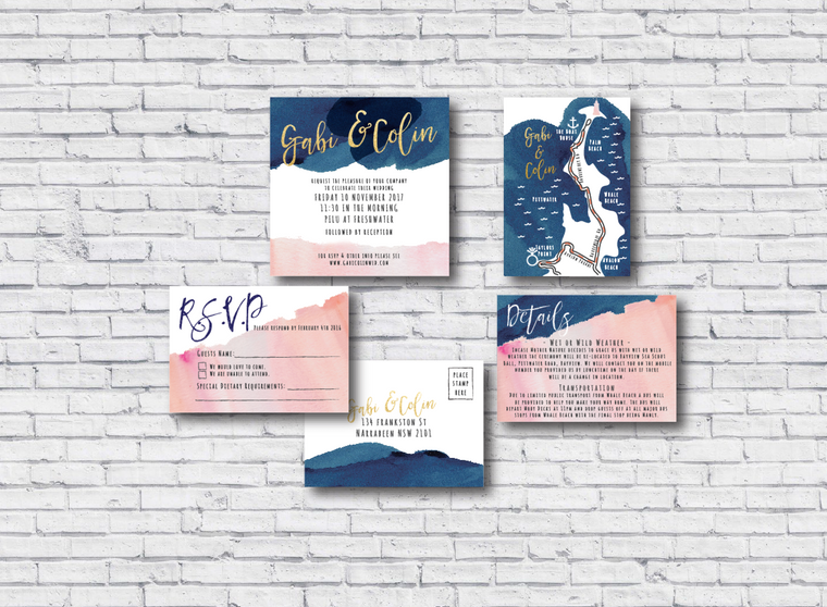 Navy & Blush Printable Wedding Invitation