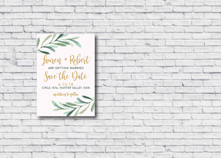 Gum Leaf & Blush Printable Save the Date Invitation