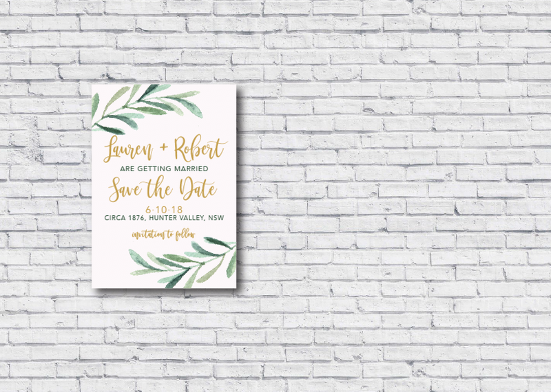photo about Printable Save the Date referred to as Gum Leaf Blush Printable Help you save the Day Invitation