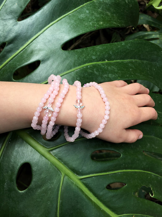 LITTLE PAPER LANE- children's crystal bracelet -Rose Quartz