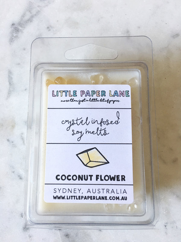 LITTLE PAPER LANE- Crystal infused Soy Melt-Coconut Flower