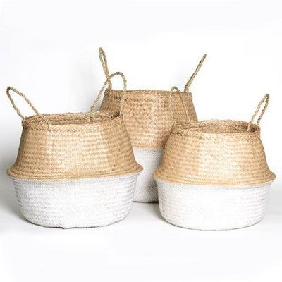 Mediterranean Markets-Collapsible Basket WHITE/NATURAL large