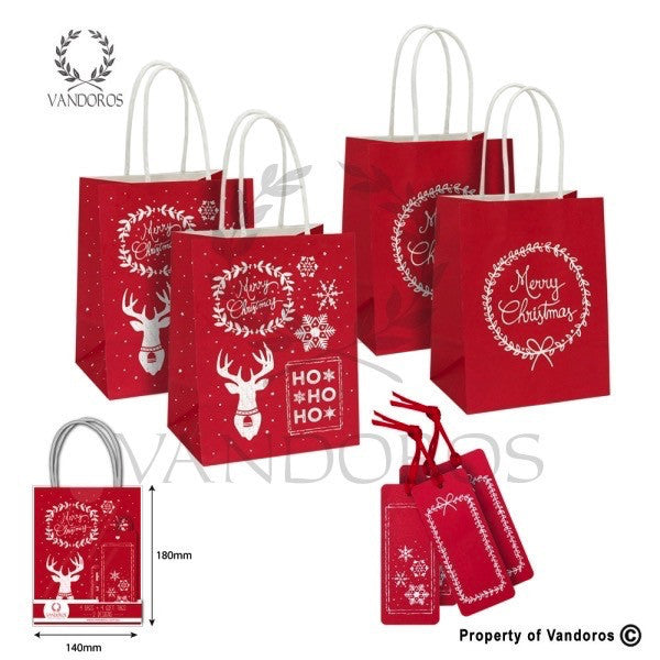 VANDOROS Gift Bag and Tag set- Red/White
