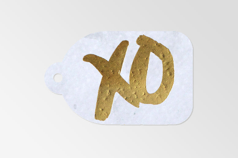 Rachel Kennedy Designs XO gold foil tag