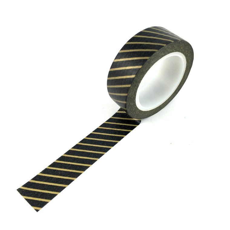 Washi Tape-Black with gold pin stripe