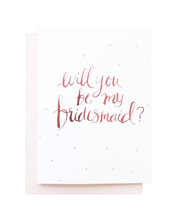 Blushing confetti- Will you be my bridesmaid Greeting Card