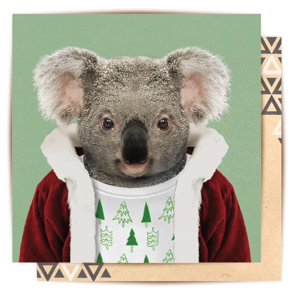 LALALAND- Greeting card-Christmas Koala Portrait