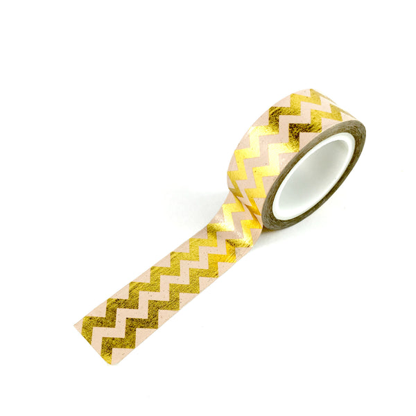 Washi Tape- Gold Chevron FOIL on Pink
