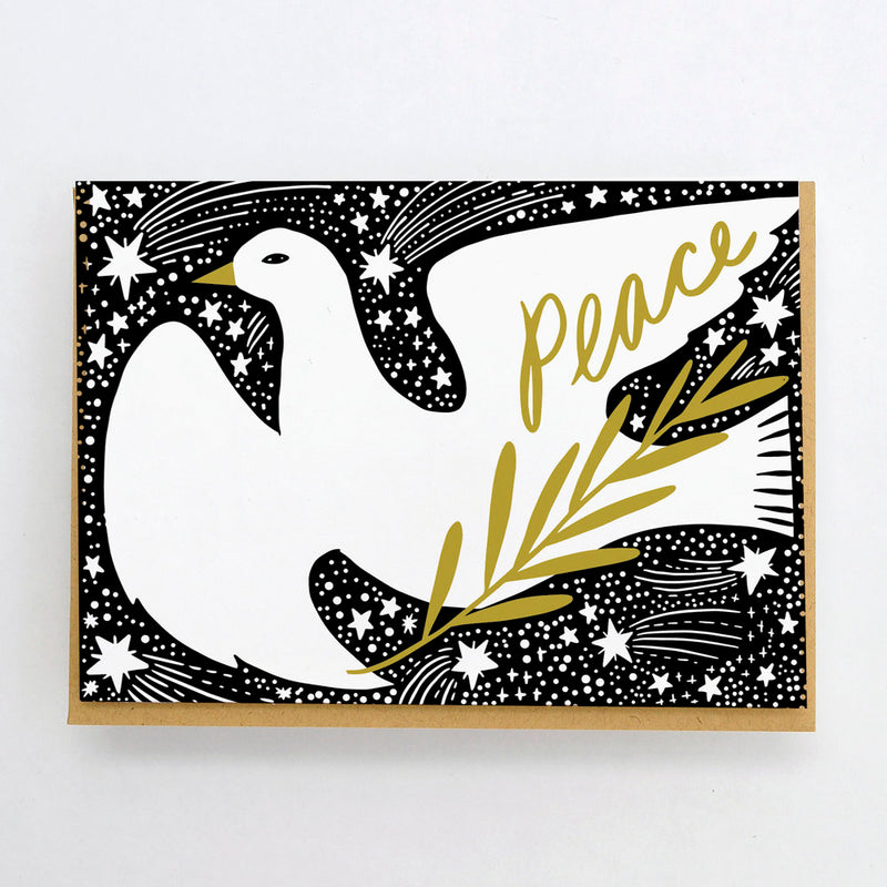 HELLO LUCKY Dove and stars card