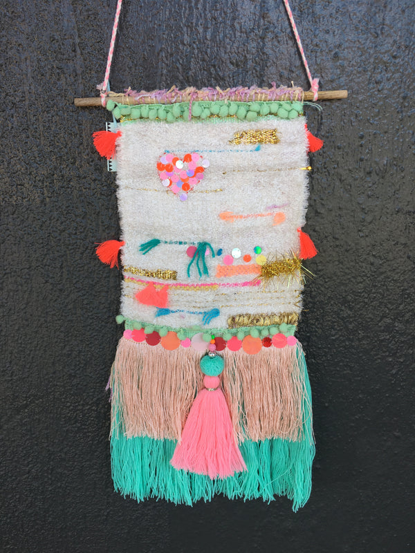 Natural Handwoven Wall Hanging w/Viola Trim