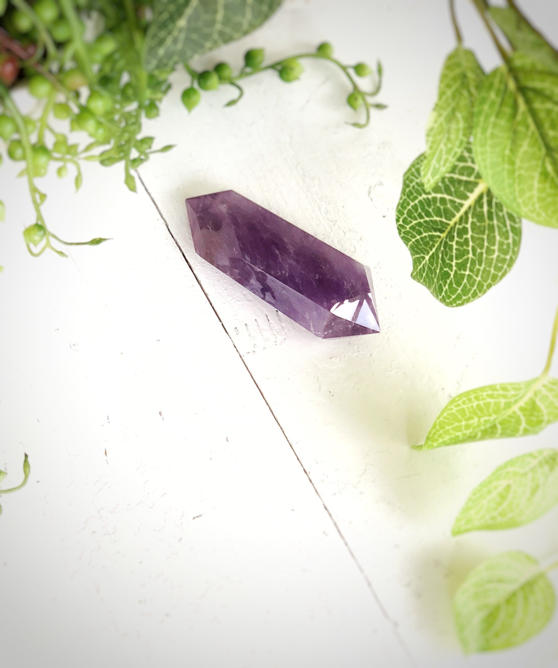 LITTLE PAPER LANE Crystals- Amethyst double terminated wand $48(i)