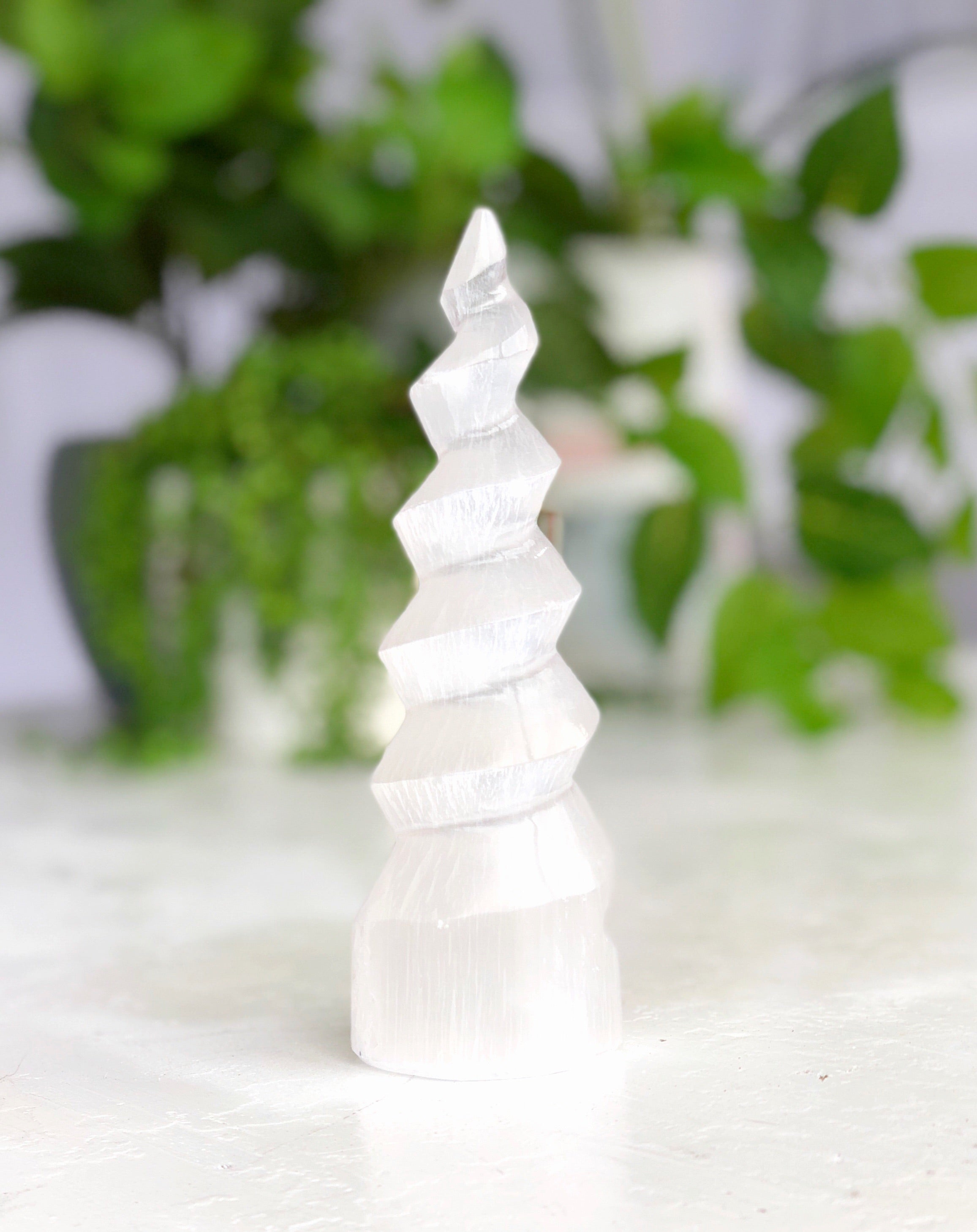 LITTLE PAPER LANE Crystals- Selenite Unicorn spiral horn LARGE