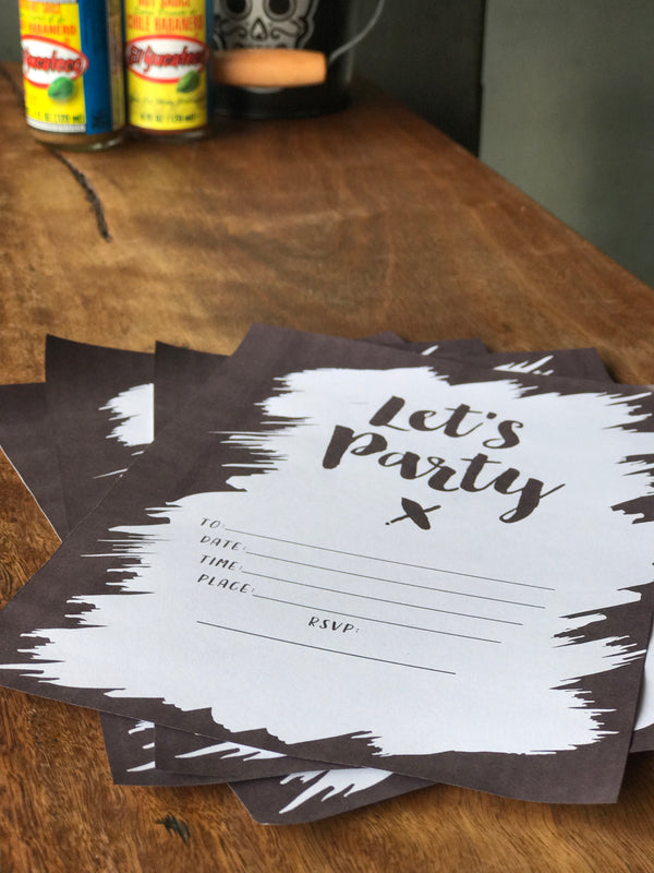 LITTLE PAPER LANE DIY Invitations- Blk & Wht