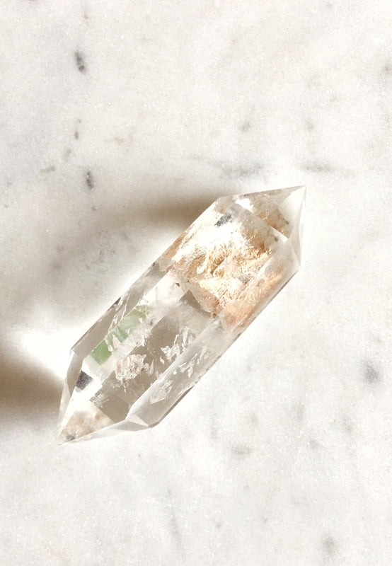 LITTLE PAPER LANE Crystals- Double terminated Clear Quartz point $31