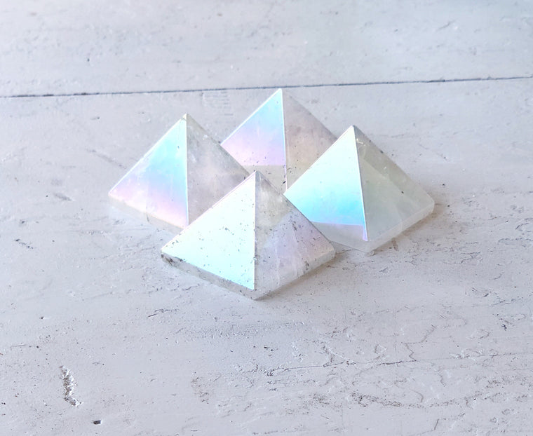 LITTLE PAPER LANE Crystals- Angel Aura(opal aura) Pyramid $35