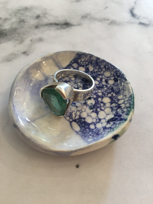 HELD BY HIM CERAMICS- Small (13.95)Ceramic dish-Blue/green bubbles