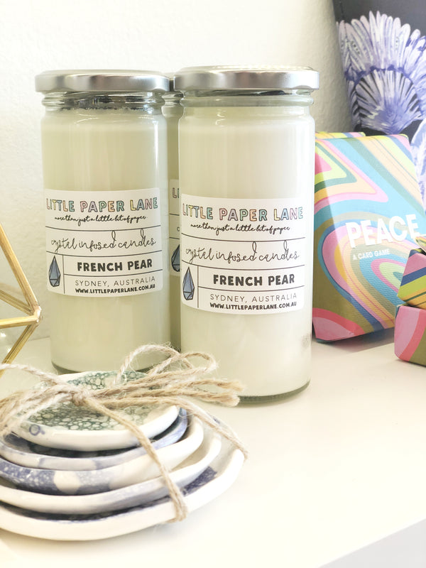 LITTLE PAPER LANE- Crystal infused Candle-Fench Pear