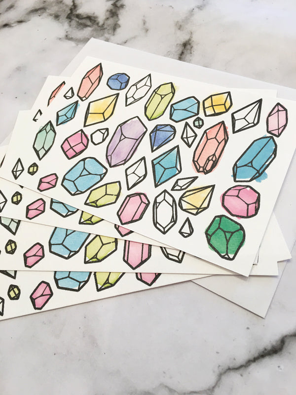 LITTLE PAPER LANE Notecard set - Watercolour Crystals