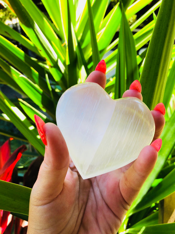 LITTLE PAPER LANE Crystals- Selenite heart $16