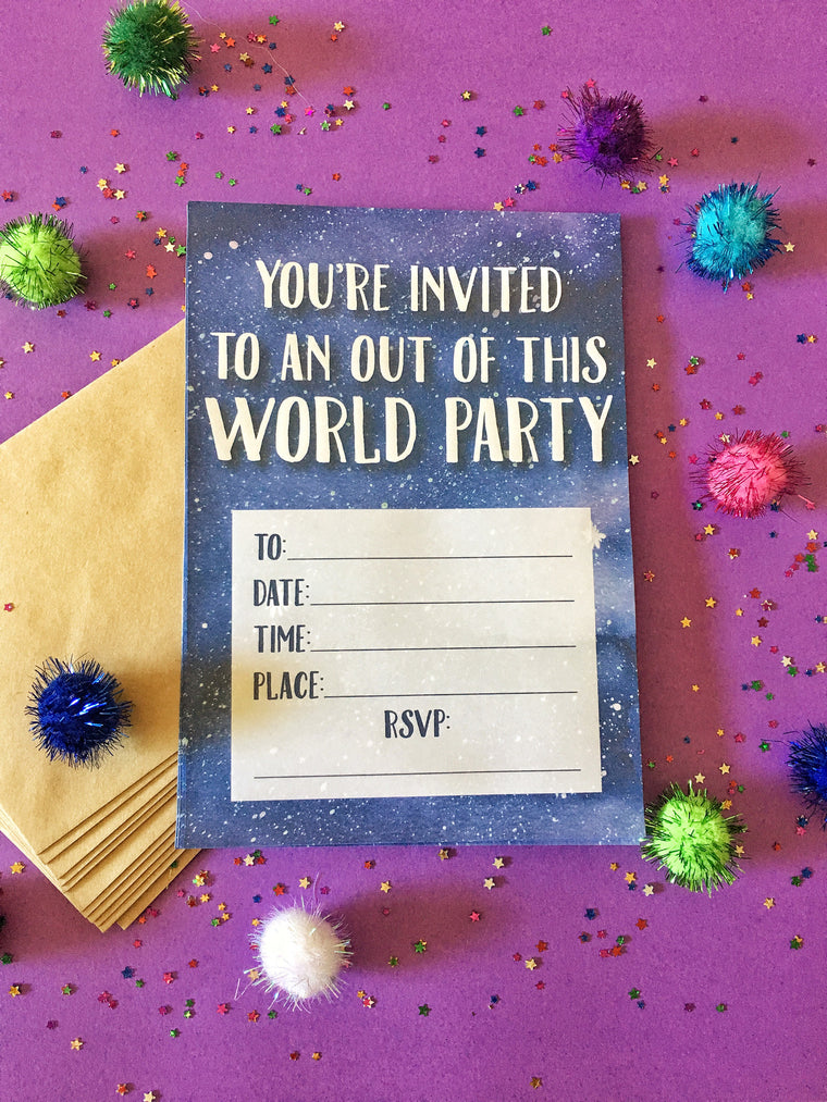 LITTLE PAPER LANE-diy invitation-out of this world-set of 12