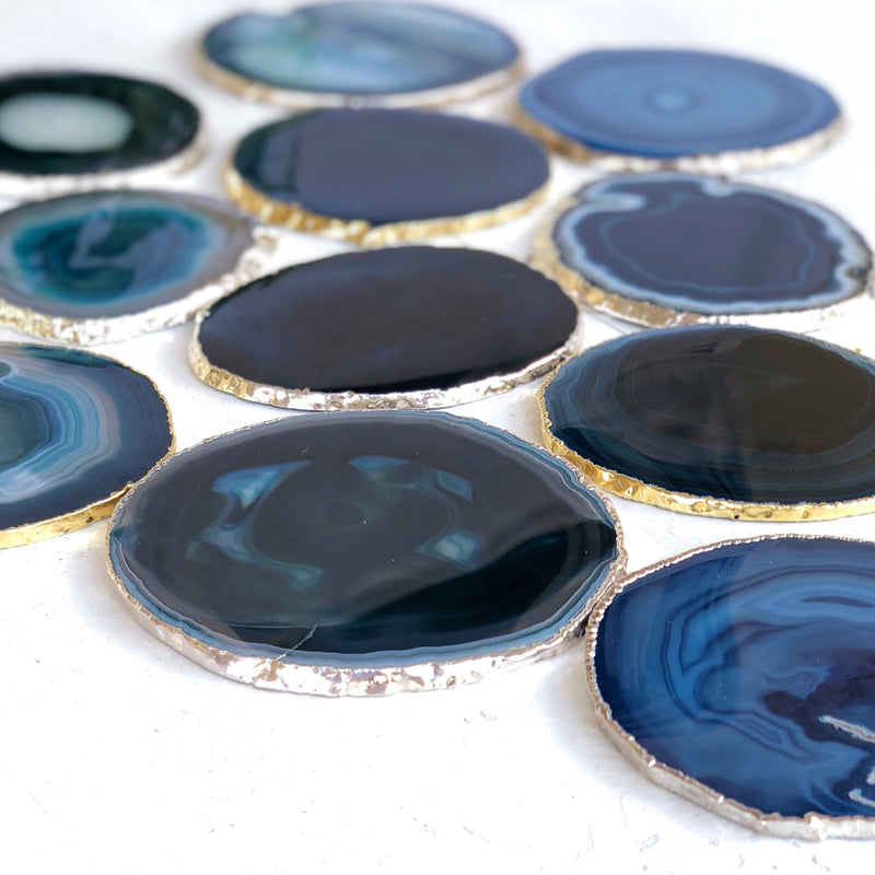 LITTLE PAPER LANE- Silver rimmed agate slice