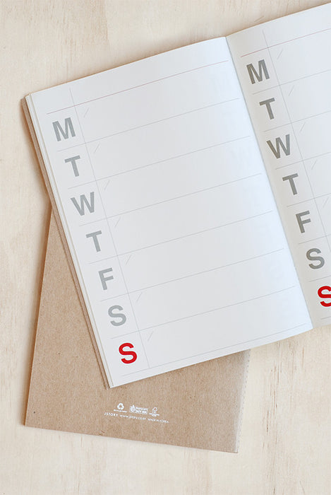 JSTORY-Undated Planner -Big Weekly Planner- Large -Kraft/white